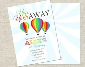 Rainbow Birthday Invitation, Printable Invitation, Personalized Rainbow Invitation