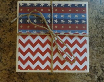 Americana Tile Coasters..Ceramic Coasters..American Flag Coasters..Chevron..Set of 4..Gift