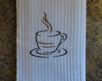 Coffee Cup Embroidered Kitchen Towel..Tea Towel..Dish Towel..Barmop..Gift