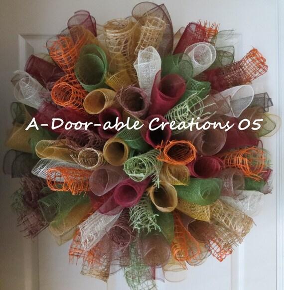 Large Spiral Deco Mesh & Jute Wreath