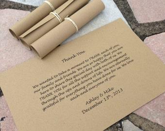 Brown THANK YOU Scrolls - Wedding - Favor - Set of 50
