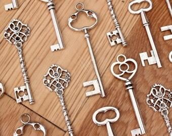 36 Large Skeleton Key Collection Antiqued Silver