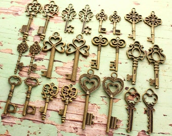 36 Skeleton Key Collection antiqued bronze vintage style wholesale wedding decorations
