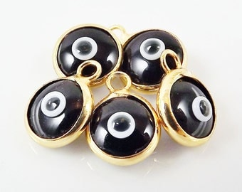 5 Mini Black Evil Eye Nazar Artisan Glass Bead Charms - Gold Plated Brass Bezel
