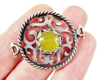 Lime Yellow Jade Stone Fretworked Circle Connector Pendant - Matte Silver Plated - 1PC