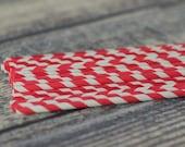 Bright Red/White Paper Straws - Set of 25