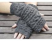 Dark Grey Fingerless mittens , Fingerless mittens ,  gloves, hand knit fingerless mittens, fingerless gloves,knit gloves
