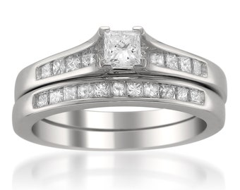 14k White Gold Princess-cut Diamond Engagement Bridal Set Wedding Ring (7/8 cttw, H-I, SI2-I1)