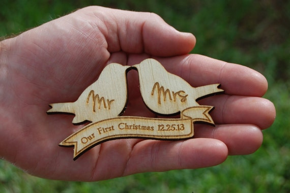 Our First Christmas Mr and Mrs Ornament Personalized Wedding Holiday Ornament Wood Love Birds