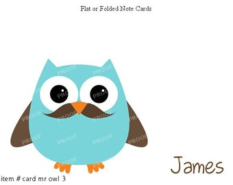Blue Owl Mustache Note Cards Set of 10 personalized flat or folded cards