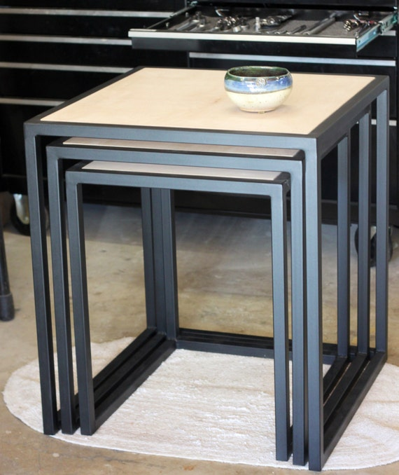 Items Similar To Handcrafted Custom Metal Framed Nesting Tables With Stained Wood Top On Etsy