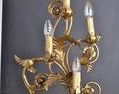 Large Italian tole sconce with metal roses around 1940