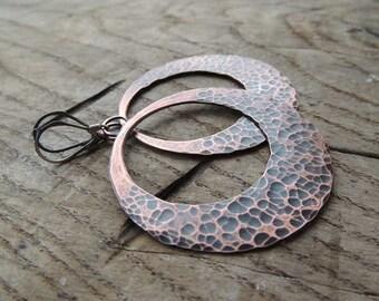 dangle earrings, hopp earrings, filled discs, personalized jewelry,  personalized earrings, Copper earrings