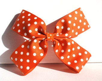 Hair bow barrette, orange and white polka dot