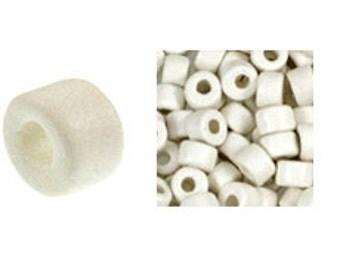 100 Mykonos Mini Tubes, 6mm X 4mm White Greek Ceramic Spacer Beads  (SKU#CT1#03)