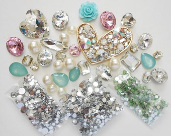 DIY 3D Crystal Gems Kawaii Resin Flatback Decoden Cabochons Cell Phone Case Deco Kit