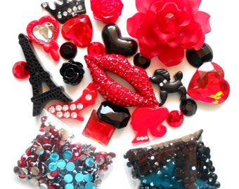 Sale -- DIY 3D Bling Bling Red Lip Cell Phone Case Kawaii Resin Flat back Decoden Cabochons Deco Kit Z314