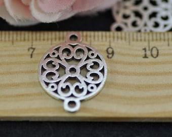 20pcs Cute Antique Silver Flower Charm Connector 18mm