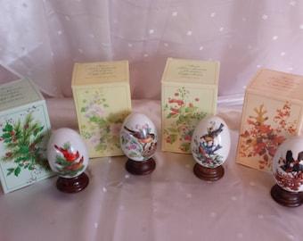 Four Seasons Porcelain Egg Series Set of 4