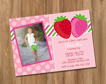 Pink Strawberry Birthday Party Invitation with Photo - Strawberry Shortcake Inspired (Digital - DIY)