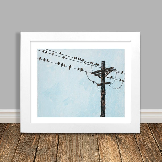 Wire Kitchen Wall Decor : Bird on a wire art modern home decor by