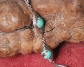 Hand Crafted Herringbone Magnesite Bracelet  Turquiose Nickle Silver, Home made in the Ozarks