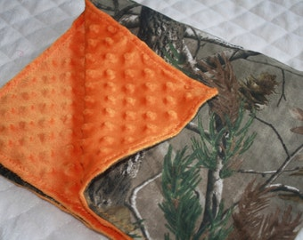 "Ready to ship!! Camo and orange baby blanket (27"" x32"")- orange minky dot and realtree camo camouflage baby boy blanket"