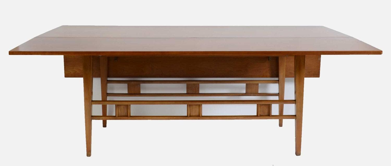 Long Cherry Drop Leaf Table Mid Century Modern 1960