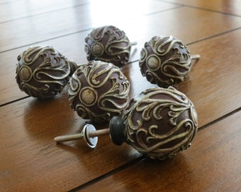 Red Resin Knob with Pewter Scroll/ Dresser or Door Knob/Vintage Inspired Pull/Knob/Drawer Pull