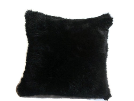Items similar to 20x20 Black Faux Fur Throw Pillow (Down insert) on Etsy