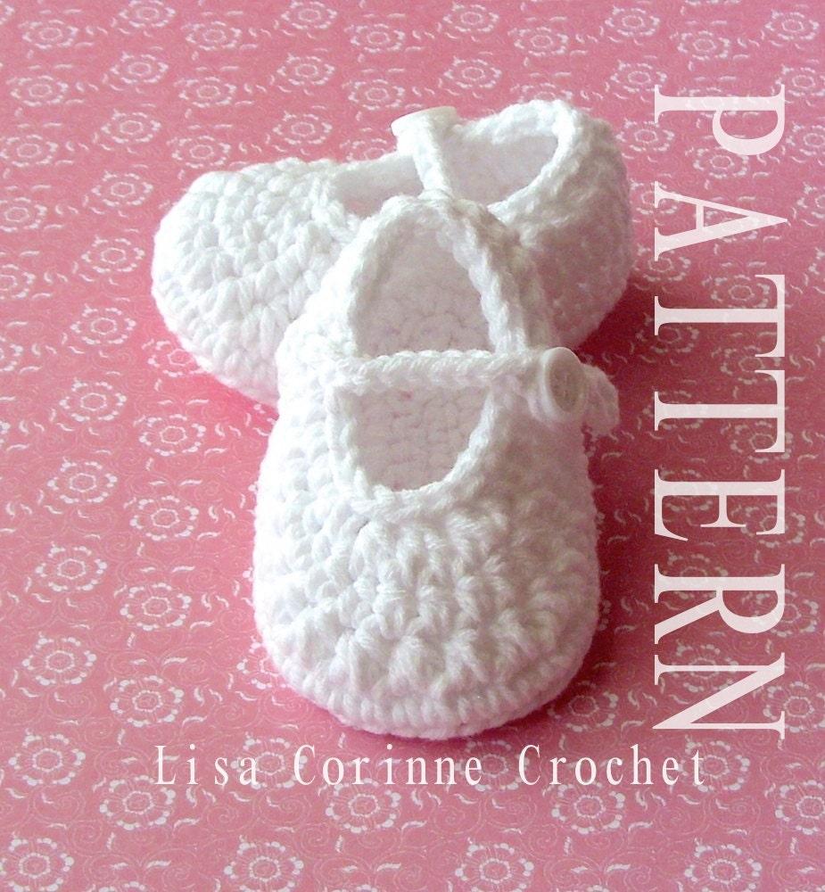 Crochet Baby Shoes Mary Jane Pattern : Crochet Baby Booties PATTERN Crochet Baby Girl Shoes Pattern