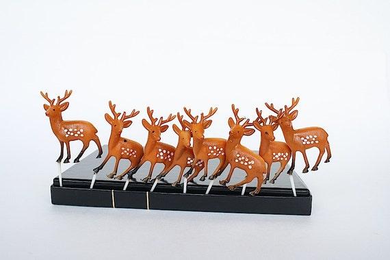 Reindeer Cupcake Toppers Vintage Christmas Cake Decorations