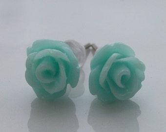 Mini Mint Rose Earrings