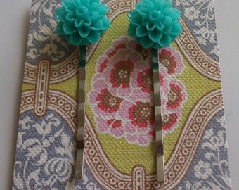 Teal Flower Hair Clips