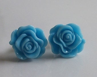 Small Robin's Egg Blue Rose Earrings
