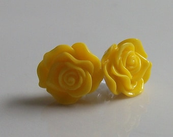 Small Yellow Rose Earrings