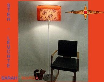 Orange floorlamp silk SARAH-MARGA Retrodesign