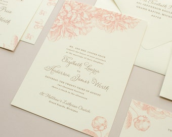 Peony Wedding Invitation, Romantic Wedding Invitation with Peonies, Wedding Invitations in Pink | DEPOSIT | Swoon