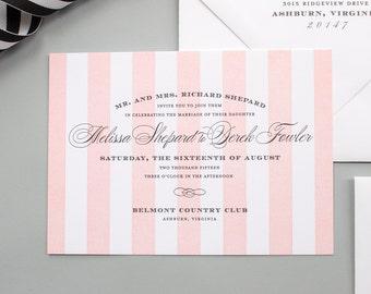 Stripe Wedding Invitations, Elegant Letterpress Invite, Formal Letterpress Wedding Invitation, Pink Stripes | DEPOSIT | Debonair