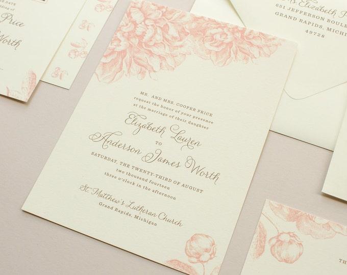 Peony Wedding Invitation, Romantic Wedding Invitation with Peonies, Wedding Invitations in Pink | DEPOSIT | Swoon