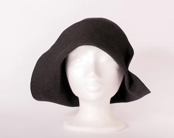 Hat black women hat felt vintage style handmade hat asymmetrical brim hat