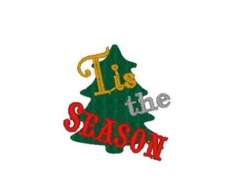 Tis the Season Christmas Tree Machine Embroidery Design
