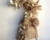 Burlap Christmas Wreath, Candy Cane Wreath, White Wreath, Tan Wreath, Holiday Wreath