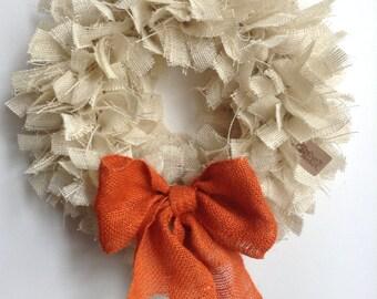 """17"""", Fall Wreath, Autumn Wreath, Thanksgiving Wreath,  Burlap Fall Wreath, Halloween Wreath, Cream Wreath, White Wreath"""