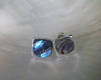 Handcrafted Sterling Silver.925 Stud Earrings With Abalone Shell Mother of Pearl