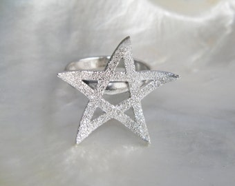 Handcrafted .925 Sterling Silver Stardust Pentagram Ring size US 7