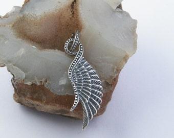 Oxidized .925 Sterling Silver Single Angel Wing Pendant