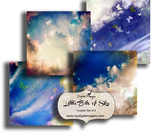 printable coasters digital collage sheet square sky images 4 x 4 inch coasters craft images instant download