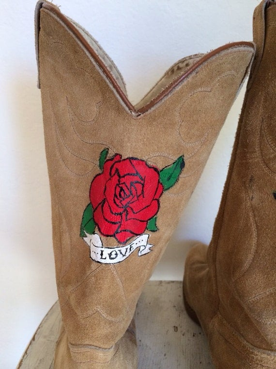 Rory La Rue Vintage  Cowgirl Boots with Hand Painted Flower