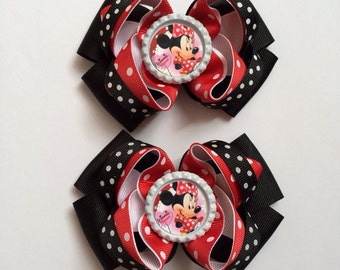 Minnie Mouse inspired Hair Bow Set